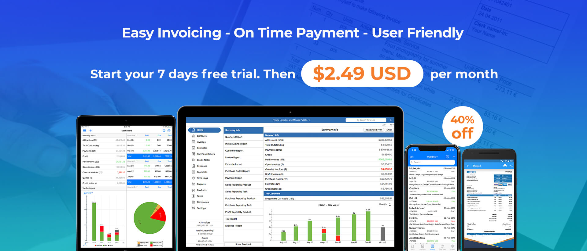 Try 7 Days Free Trial | Moon Invoice - Easy Invoicing App