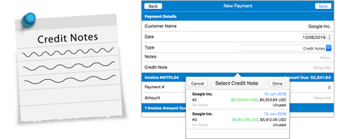 Moon Invoice - Credit Notes Payment